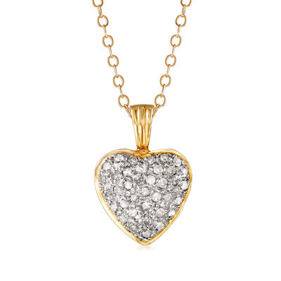 C. 1990 Vintage .35 ct. t.w. Diamond Heart Pendant Necklace in 14kt Yellow Gold, , default