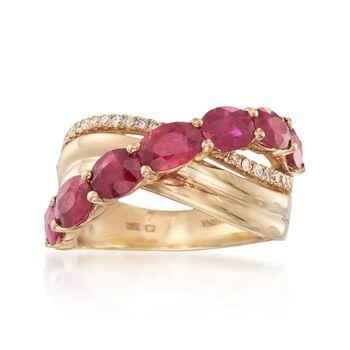 3.50 ct. t.w. Ruby and .20 ct. t.w. Diamond Wave Ring in 18kt Yellow Gold, , default