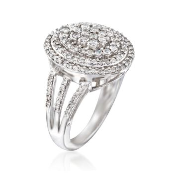 1.00 ct. t.w. Diamond Oval Ring in Sterling Silver, , default