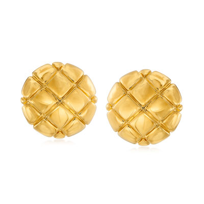 Italian Andiamo 14kt Yellow Gold Checkerboard Button Earrings, , default