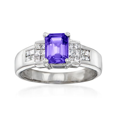 C. 1990 Vintage 1.55 Carat Tanzanite and .75 ct. t.w. Diamond Ring in 14kt White Gold, , default