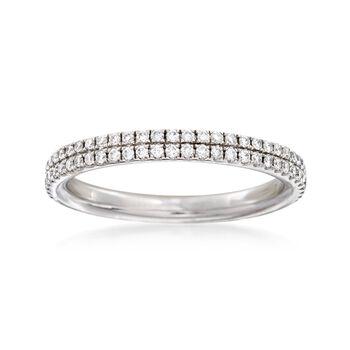 Henri Daussi .45 ct. t.w. Diamond Two-Row Wedding Ring in Platinum. Size 6.5, , default