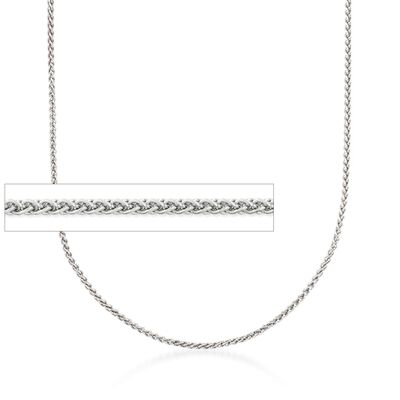 1.2mm 14kt White Gold Wheat Chain Necklace, , default