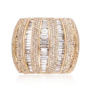 5.00 ct. t.w. Baguette and Round Diamond Column Ring in 14kt Yellow Gold, , default
