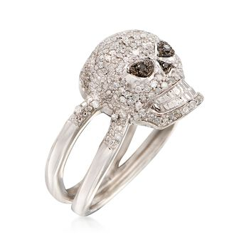 .50 ct. t.w. Black and White Diamond Skull Ring in Sterling Silver, , default