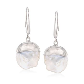 15-16mm Cultured Keshi Pearl Drop Earrings in Sterling Silver, , default