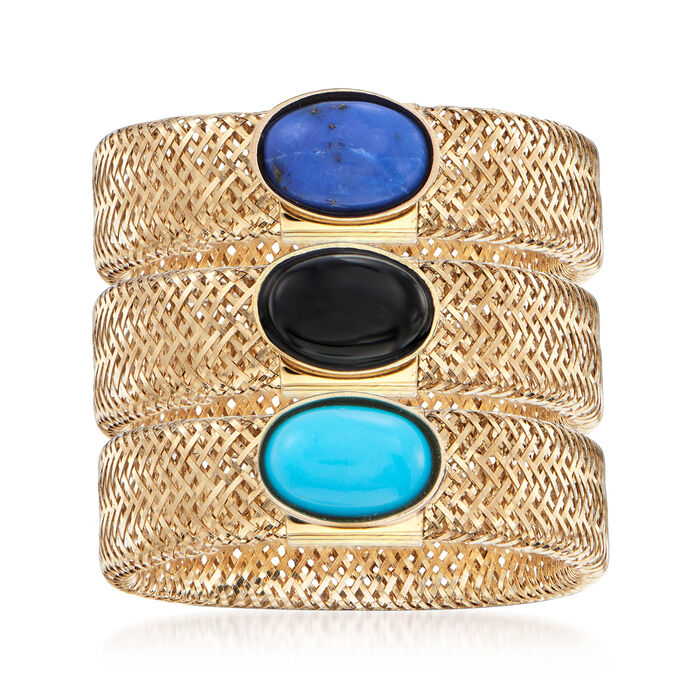 Italian Multi-Gemstone Jewelry Set: Three 14kt Yellow Gold Mesh Rings, , default