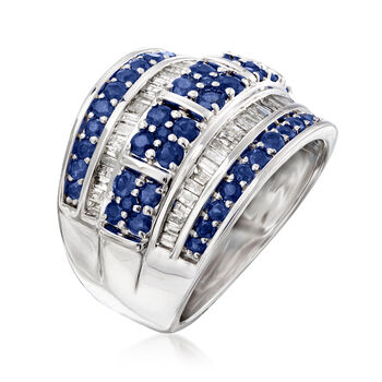 1.40 ct. t.w. Sapphire and .60 ct. t.w. Diamond Multi-Row Ring in Sterling Silver, , default