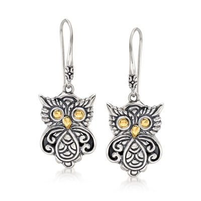 Sterling Silver Bali-Style Owl Drop Earrings with 18kt Yellow Gold