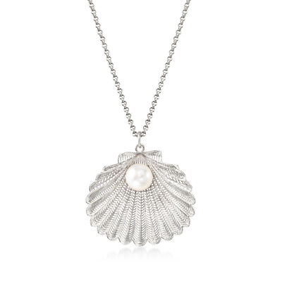 Italian Cultured Pearl Seashell Pendant Necklace in Sterling Silver, , default