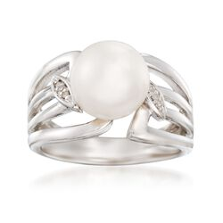 9.5-10mm Cultured Pearl Leaf Ring With Diamond Accents in Sterling Silver, , default