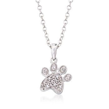 """Pave Diamond Accent Paw Print Pendant Necklace in 14kt White Gold. 16"""", , default"""