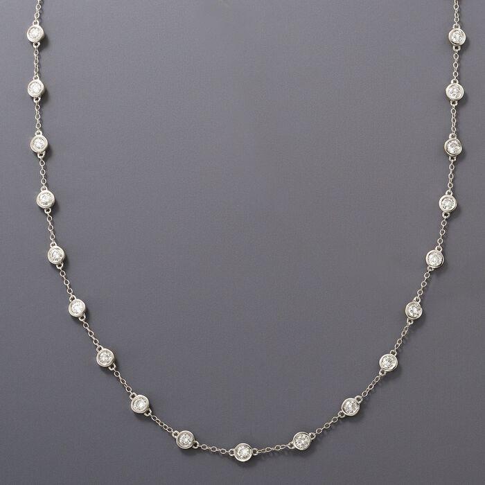 3.00 ct. t.w. Bezel-Set Diamond Station Necklace in 14kt White Gold