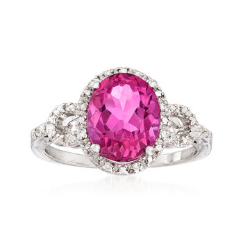 3.40 Carat Pink Topaz Ring With Diamond Accents in Sterling Silver, , default