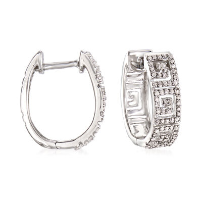 .50 ct. t.w. Diamond Greek Key Hoop Earrings in Sterling Silver, , default