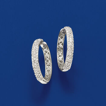 "2.00 ct. t.w. Pave Diamond Hoop Earrings in 14kt White Gold. 1 1/8"", , default"