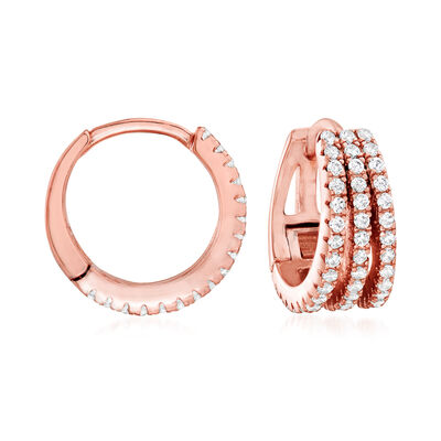 .50 ct. t.w. CZ Multi-Row Hoop Earrings in 18kt Rose Gold Over Sterling, , default