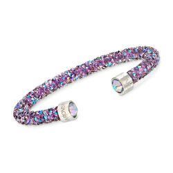 "Swarovski Crystal ""Crystaldust"" Light Purple Cuff Bracelet With Stainless Steel, , default"