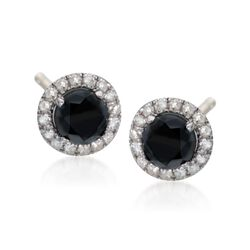 1.40 ct. t.w. Black and White Diamond Halo Stud Earrings in Sterling Silver, , default