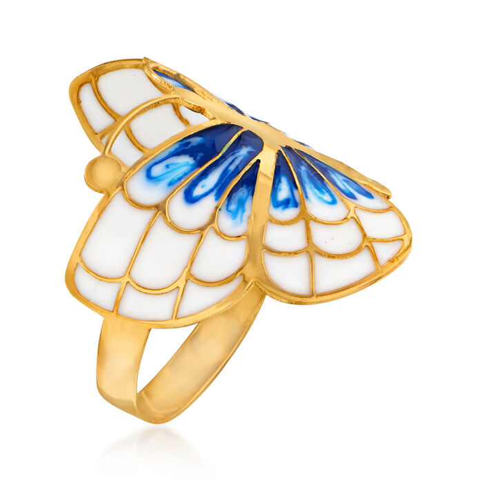 Italian Blue and White Enamel Butterfly Ring in 14kt Yellow Gold
