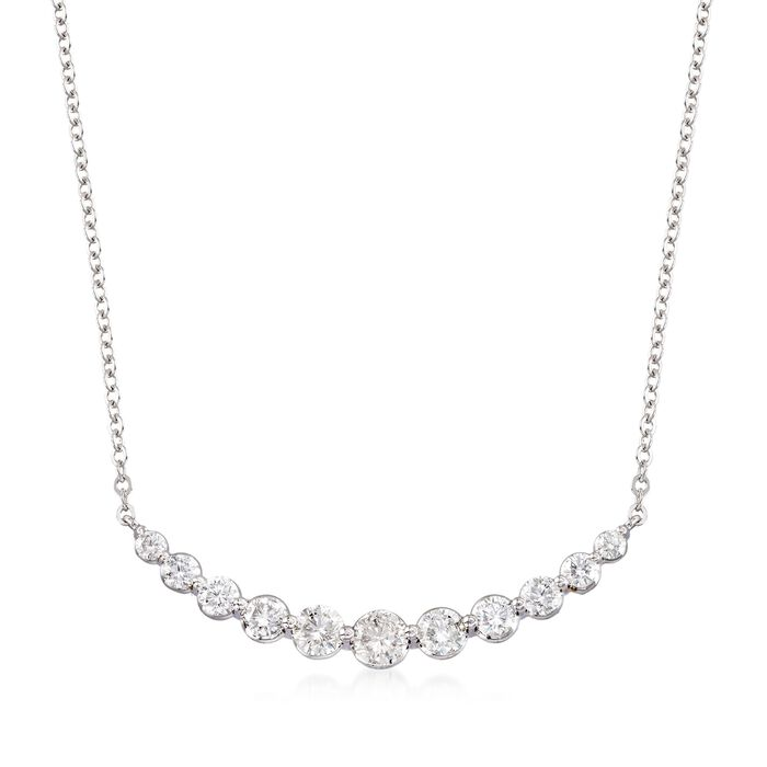 """1.00 ct. t.w. Graduated Diamond Necklace in 14kt White Gold. 19.25"""", , default"""