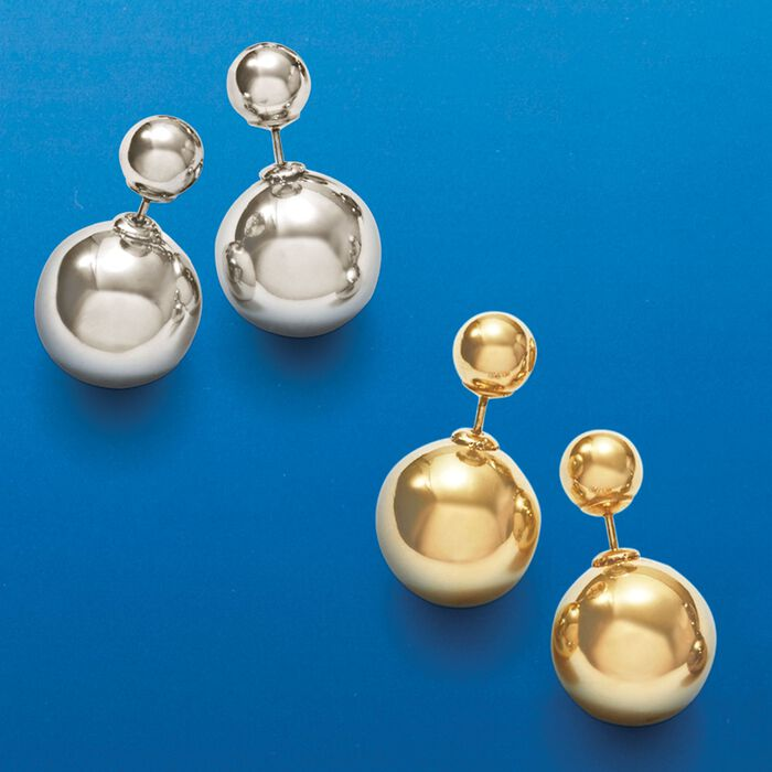 Italian 8-16mm 18kt Yellow Gold Over Sterling Silver Bead Front-Back Earrings