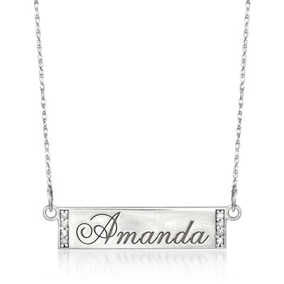 Engravable Bar Necklace with Diamond Accents in Sterling Silver, , default