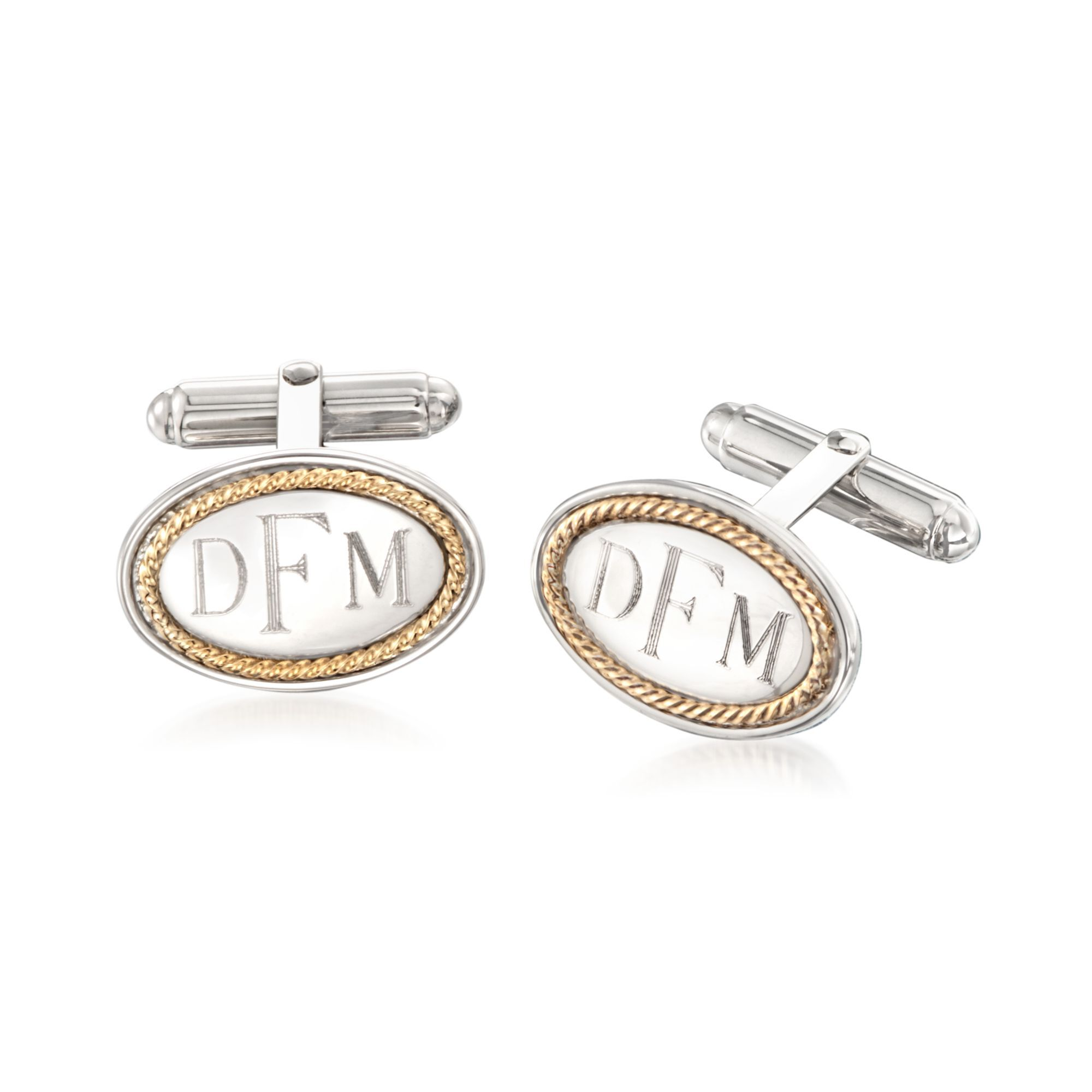 Made in England Sterling Silver and 18KT Yellow Gold Chain Link Cufflinks