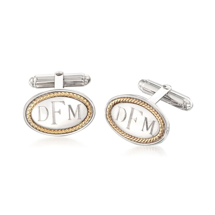 Men's 14kt Yellow Gold and Sterling Silver Cuff Links , , default