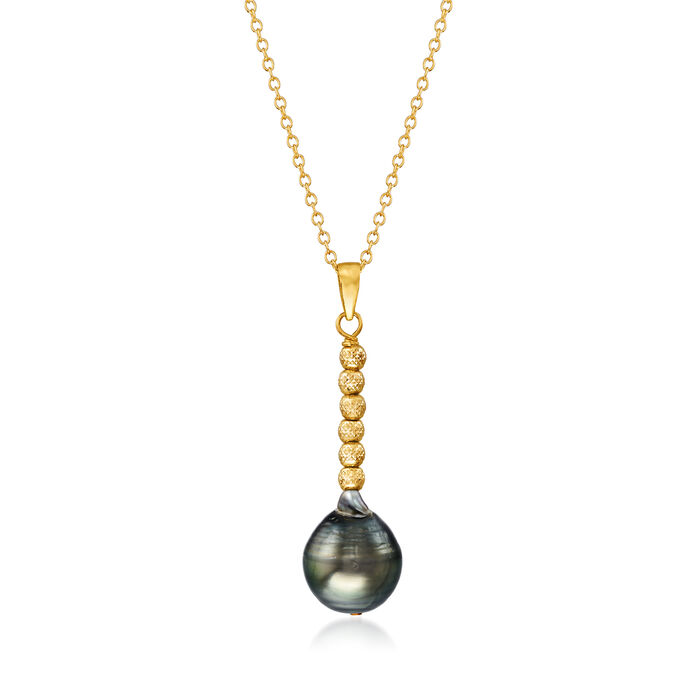 8-10mm Cultured Tahitian Pearl Pendant Necklace in 18kt Gold Over Sterling