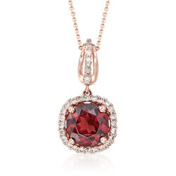 "1.50 Carat Garnet and .18 ct. t.w. Diamond Pendant Necklace in 14kt Rose Gold. 16"", , default"