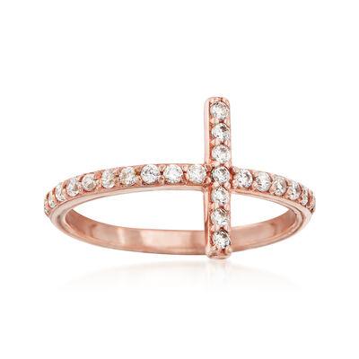 .35 ct. t.w. CZ Sideways Cross Ring in 14kt Rose Gold, , default