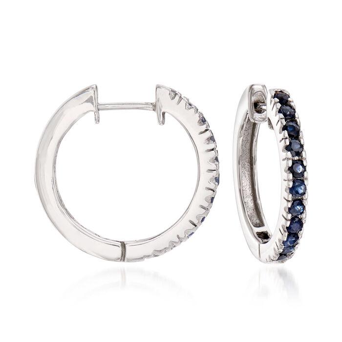 "1.10 ct. t.w. Sapphire Hoop Earrings in Sterling Silver. 3/4"", , default"