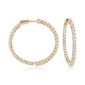 """3.50 ct. t.w. Diamond Inside-Outside Hoop Earrings in 14kt Yellow Gold. 1 3/8"""", , default"""