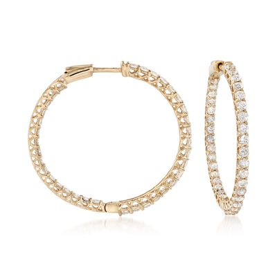 3.50 ct. t.w. Diamond Inside-Outside Hoop Earrings in 14kt Yellow Gold, , default