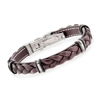 "Men's Brown Leather Weave Bracelet in Stainless Steel. 8.5"", , default"