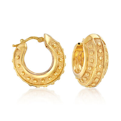 Italian 14kt Yellow Gold Textured and Polished Hoop Earrings, , default