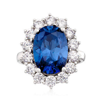 Simulated Sapphire and 1.80 ct. t.w. CZ Ring in Sterling Silver, , default