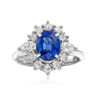 C. 1980 Vintage 1.99 Carat Sapphire and .77 ct. t.w. Diamond Ring in Platinum, , default
