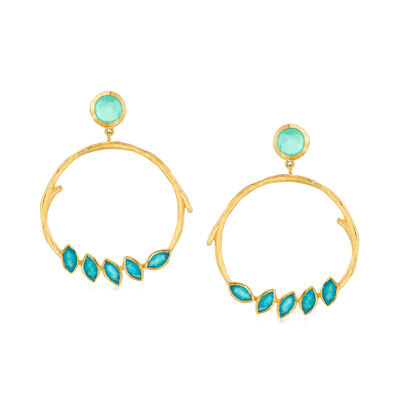 Aqua Chalcedony and 4.50 ct. t.w. Green Quartz Drop Earrings in 18kt Gold Over Sterling, , default
