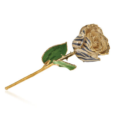 Lacquer-Dipped Gold-Plated Cream and Black Zebra Rose, , default