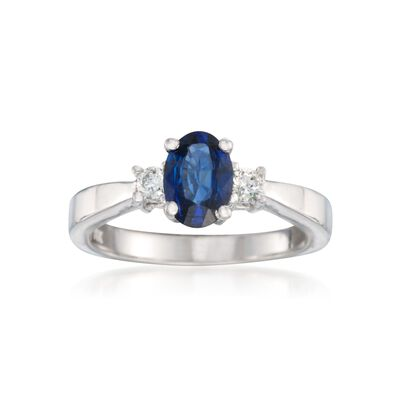.60 Carat Sapphire and .15 ct. t.w. Diamond Ring in 14kt White Gold, , default
