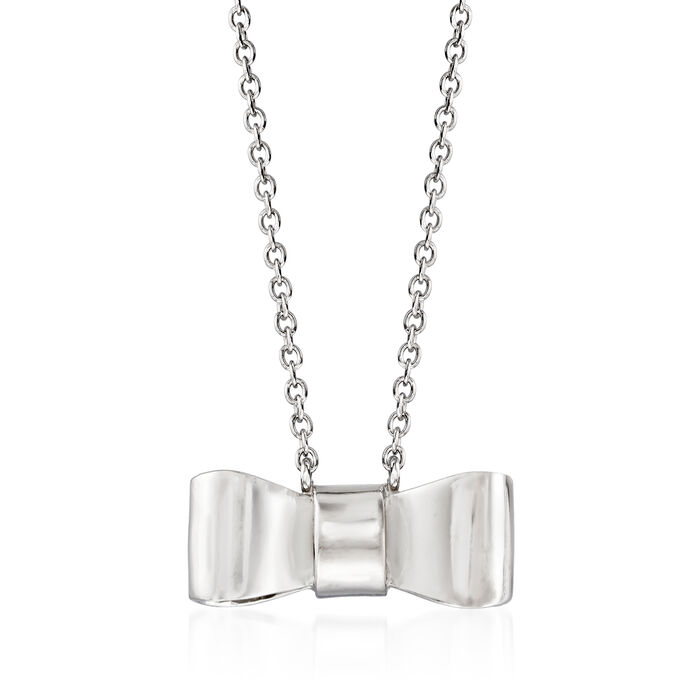 Italian Sterling Silver Bow Necklace