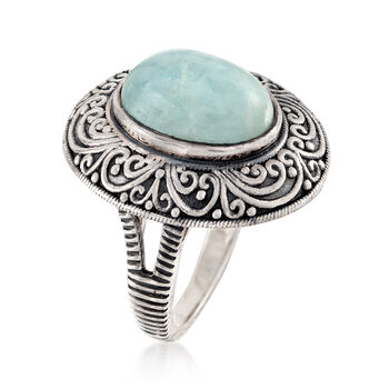 6.25 Carat Milky Aquamarine Ring in Sterling Silver, , default