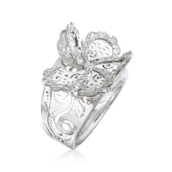 Italian Sterling Silver Diamond-Cut Swirl Flower Ring, , default