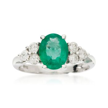 1.70 Carat Emerald and .42 ct. t.w. Diamond Ring in 14kt White Gold, , default