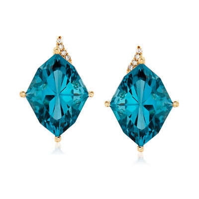 9.00 ct. t.w. London Blue Topaz Earrings in 14kt Yellow Gold