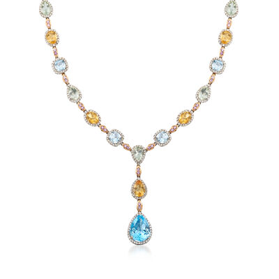 C. 1990 Vintage 32.20 ct. t.w. Multi-Gemstone and 4.74 ct. t.w. Diamond Y-Necklace in 18kt White Gold, , default