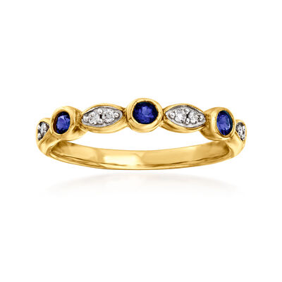 C. 1980 Vintage .25 ct. t.w. Synthetic Sapphire and Diamond-Accented Ring in 9kt Yellow Gold
