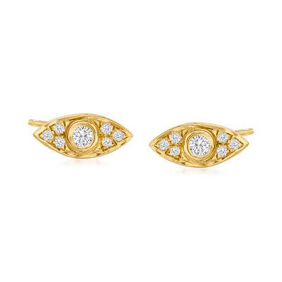 .10 ct. t.w. Diamond Evil Eye Stud Earrings in 18kt Gold Over Sterling
